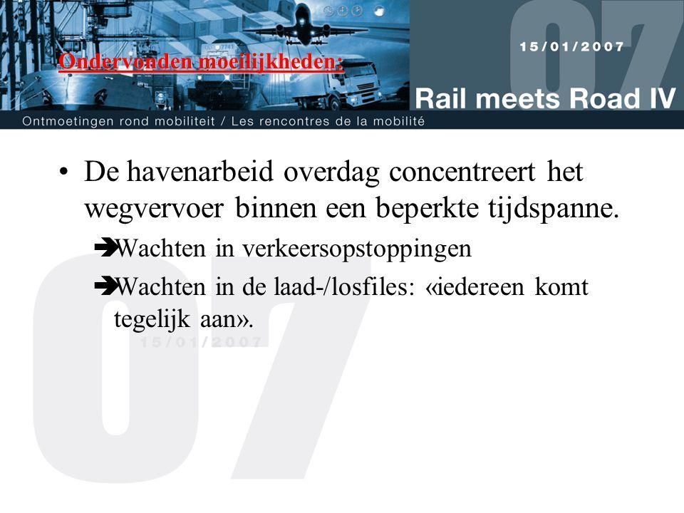 Ondervonden moeilijkheden: •De havenarbeid overdag concentreert het wegvervoer binnen een beperkte tijdspanne.