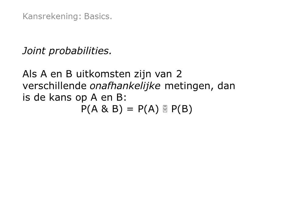 Kansrekening: Basics. Joint probabilities.
