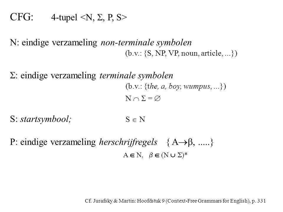 CFG: 4-tupel N: eindige verzameling non-terminale symbolen (b.v.: {S, NP, VP, noun, article,...})  : eindige verzameling terminale symbolen (b.v.: {the, a, boy, wumpus,...}) N   =  S: startsymbool; S  N P: eindige verzameling herschrijfregels { A ,.....} A  N,   (N   )* Cf.