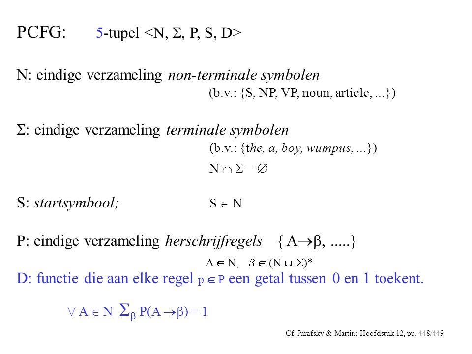 PCFG: 5-tupel N: eindige verzameling non-terminale symbolen (b.v.: {S, NP, VP, noun, article,...})  : eindige verzameling terminale symbolen (b.v.: {the, a, boy, wumpus,...}) N   =  S: startsymbool; S  N P: eindige verzameling herschrijfregels { A ,.....} A  N,   (N   )* D: functie die aan elke regel p  P een getal tussen 0 en 1 toekent.
