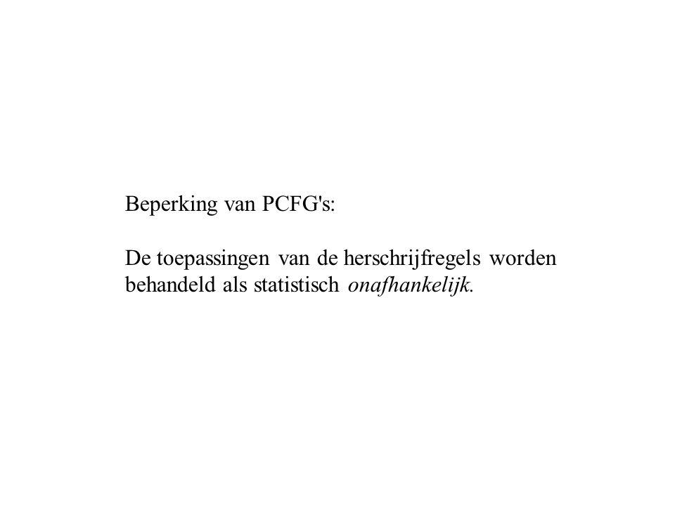 Beperking van PCFG s: De toepassingen van de herschrijfregels worden behandeld als statistisch onafhankelijk.