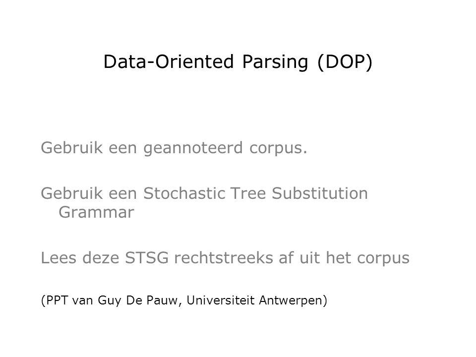 Data-Oriented Parsing (DOP) Gebruik een geannoteerd corpus.