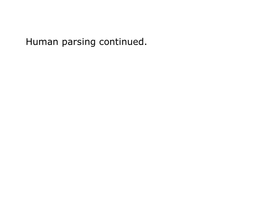 Human parsing continued.
