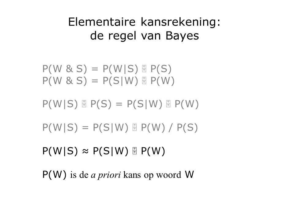 Elementaire kansrekening: de regel van Bayes P(W & S) = P(W|S)  P(S) P(W & S) = P(S|W)  P(W) P(W|S)  P(S) = P(S|W)  P(W) P(W|S) = P(S|W)  P(W) / P(S) P(W|S) ≈ P(S|W)  P(W) P(W) is de a priori kans op woord W