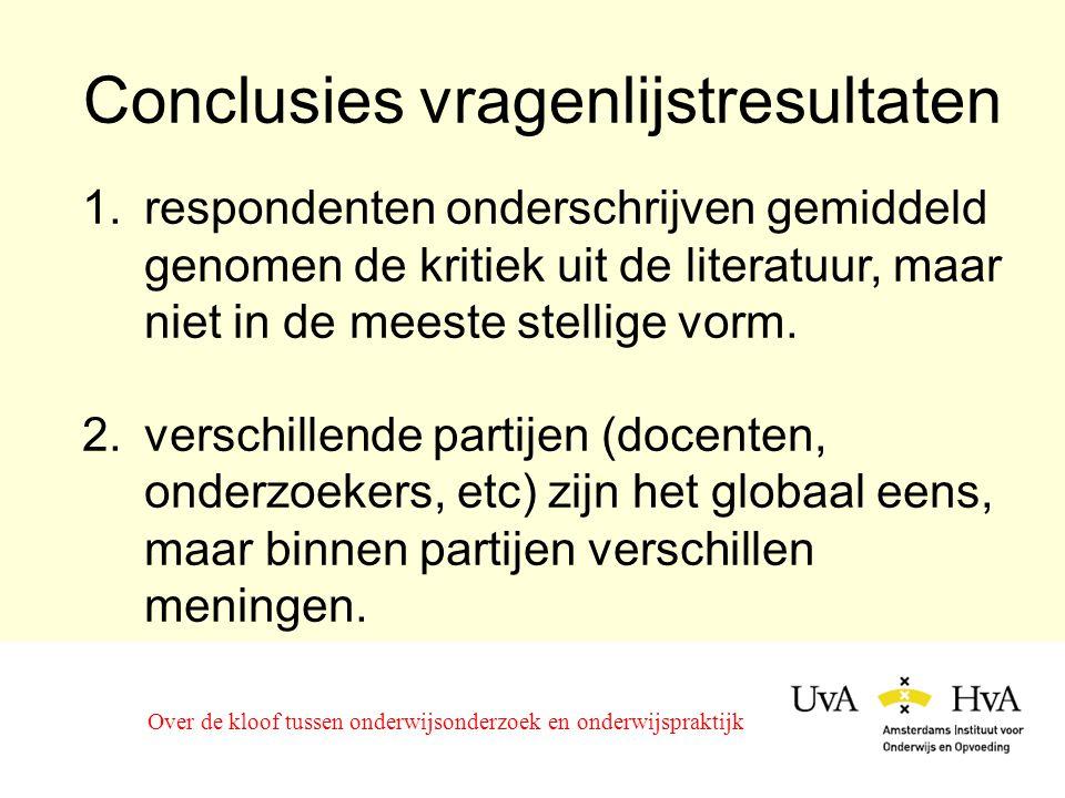 Conclusies vragenlijstresultaten Over de kloof tussen onderwijsonderzoek en onderwijspraktijk 1.respondenten onderschrijven gemiddeld genomen de kritiek uit de literatuur, maar niet in de meeste stellige vorm.