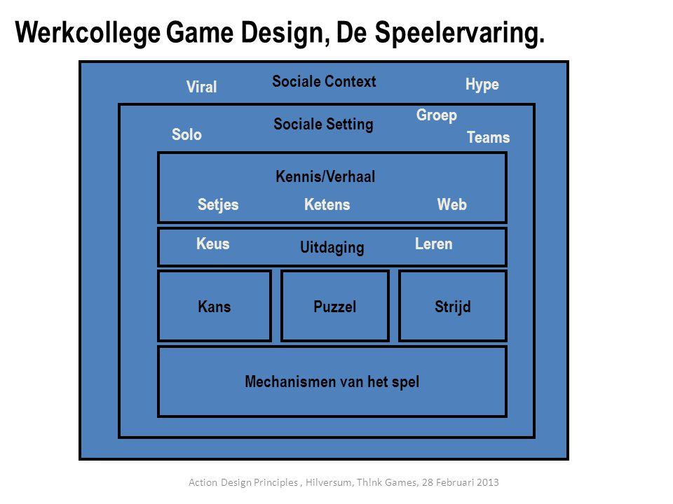 KansStrijdPuzzel Mechanismen van het spel Sociale Setting Uitdaging Sociale Context SetjesKetensWeb Kennis/Verhaal Solo Groep Teams Viral Hype KeusLeren Werkcollege Game Design, De Speelervaring.