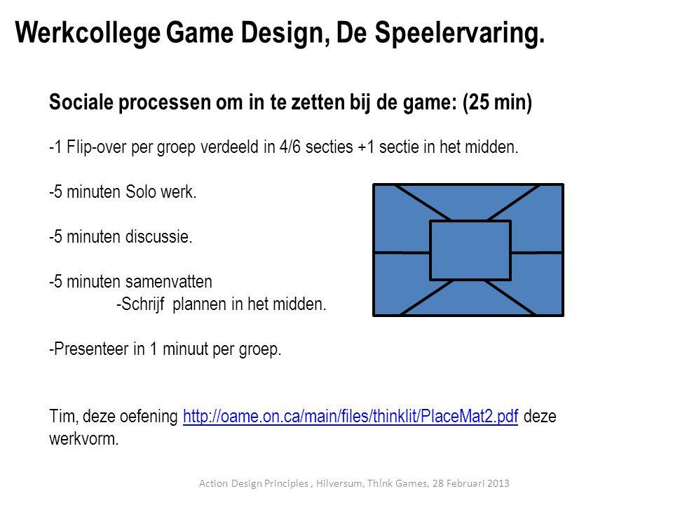 Sociale processen om in te zetten bij de game: (25 min) -1 Flip-over per groep verdeeld in 4/6 secties +1 sectie in het midden.