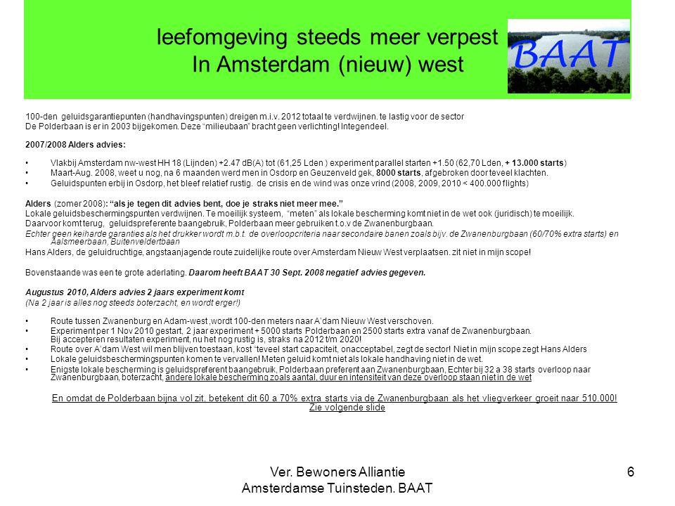 Ver. Bewoners Alliantie Amsterdamse Tuinsteden. BAAT 6 leefomgeving steeds meer verpest In Amsterdam (nieuw) west 100-den geluidsgarantiepunten (handh