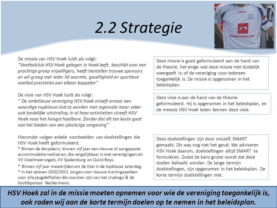 2.2 Strategie HSV Hoek zal in de missie moeten opnemen voor wie de vereniging toegankelijk is, ook raden wij aan de korte termijn doelen op te nemen i