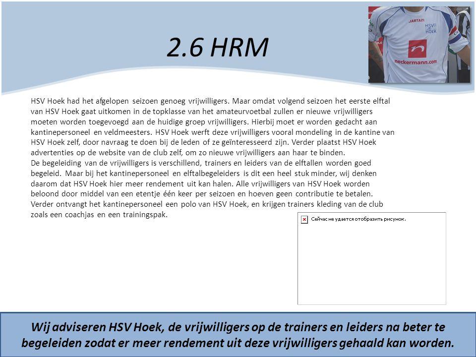 2.6 HRM Wij adviseren HSV Hoek, de vrijwilligers op de trainers en leiders na beter te begeleiden zodat er meer rendement uit deze vrijwilligers gehaa