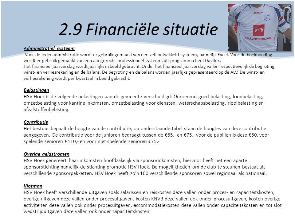 2.9 Financiële situatie Administratief systeem Voor de ledenadministratie wordt er gebruik gemaakt van een zelf ontwikkeld systeem, namelijk Excel. Vo