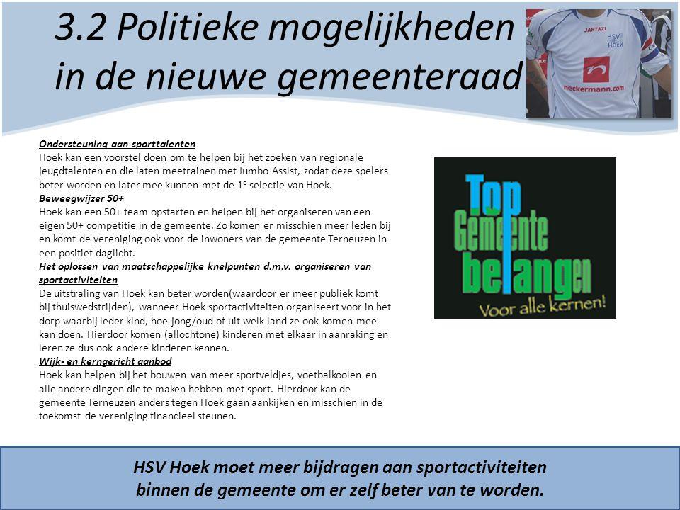 3.2 Politieke mogelijkheden in de nieuwe gemeenteraad HSV Hoek moet meer bijdragen aan sportactiviteiten binnen de gemeente om er zelf beter van te wo