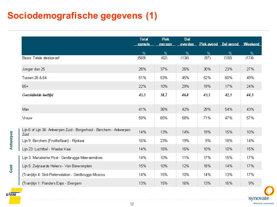 12 Sociodemografische gegevens (1) Antwerpen Gent