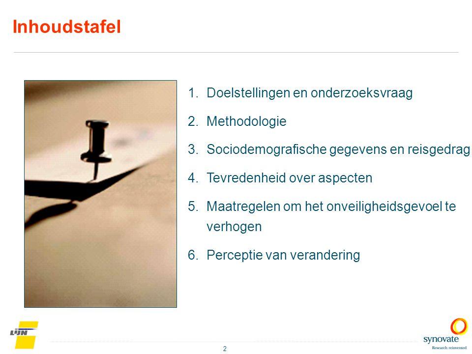2 1.Doelstellingen en onderzoeksvraag 2.Methodologie 3.Sociodemografische gegevens en reisgedrag 4.Tevredenheid over aspecten 5.Maatregelen om het onv