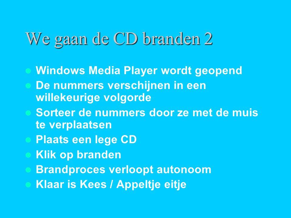 We gaan de CD branden 2  Windows Media Player wordt geopend  De nummers verschijnen in een willekeurige volgorde  Sorteer de nummers door ze met de