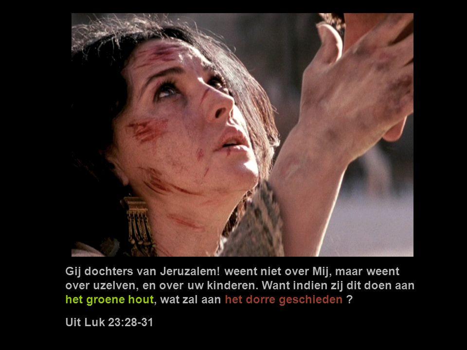 Gij dochters van Jeruzalem.weent niet over Mij, maar weent over uzelven, en over uw kinderen.