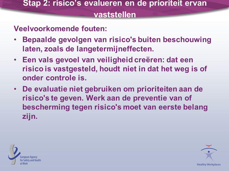 Stap 2: risico's evalueren en de prioriteit ervan vaststellen Veelvoorkomende fouten: •Bepaalde gevolgen van risico's buiten beschouwing laten, zoals