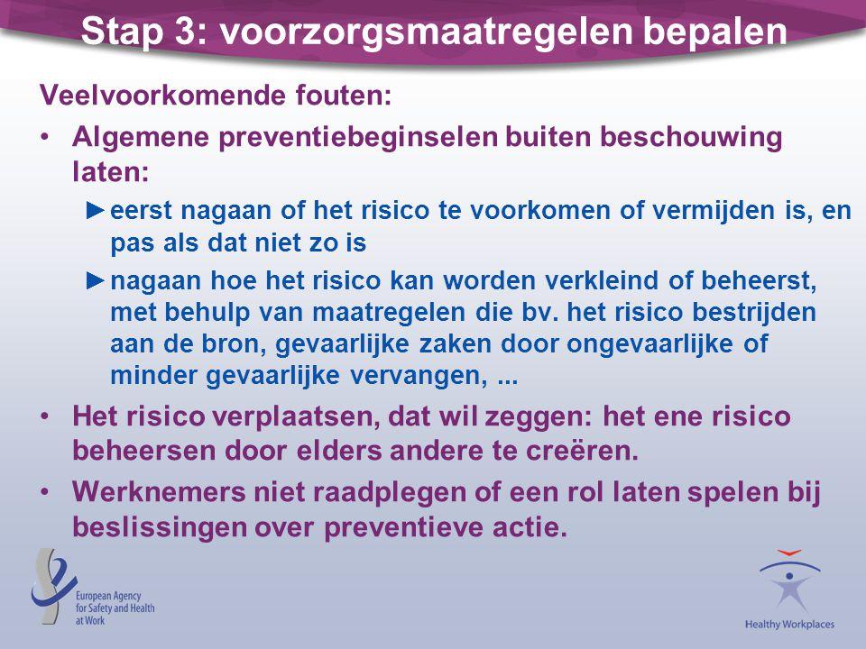 Stap 3: voorzorgsmaatregelen bepalen Veelvoorkomende fouten: •Algemene preventiebeginselen buiten beschouwing laten: ►eerst nagaan of het risico te vo
