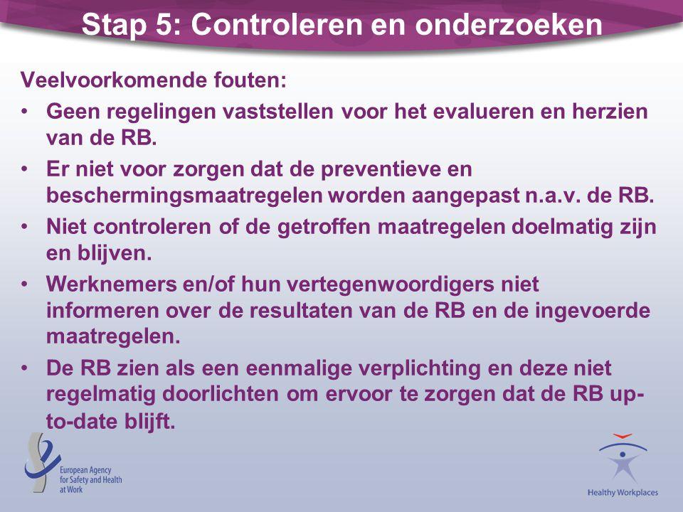 Stap 5: Controleren en onderzoeken Veelvoorkomende fouten: •Geen regelingen vaststellen voor het evalueren en herzien van de RB. •Er niet voor zorgen