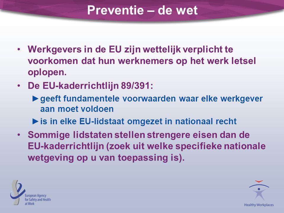 Preventie – de wet •Werkgevers in de EU zijn wettelijk verplicht te voorkomen dat hun werknemers op het werk letsel oplopen. •De EU-kaderrichtlijn 89/