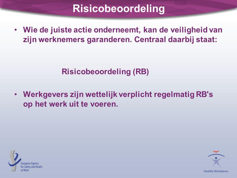 Risicobeoordeling •Wie de juiste actie onderneemt, kan de veiligheid van zijn werknemers garanderen. Centraal daarbij staat: Risicobeoordeling (RB) •W