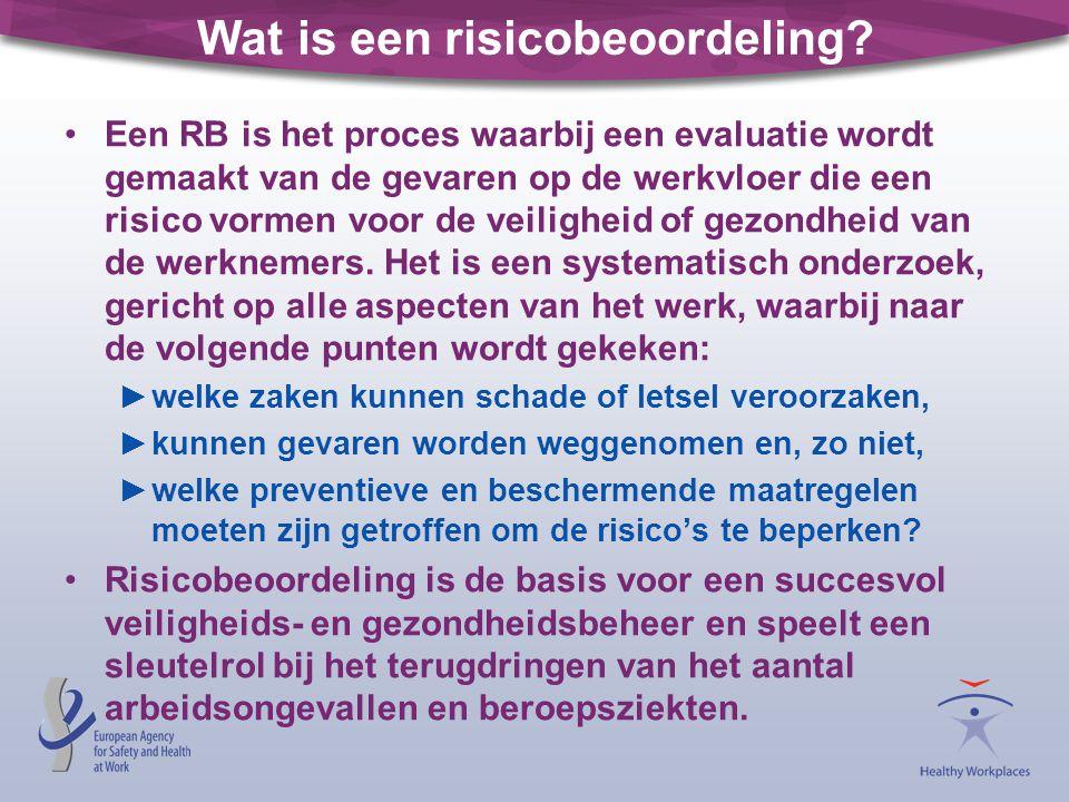 Wat is een risicobeoordeling? •Een RB is het proces waarbij een evaluatie wordt gemaakt van de gevaren op de werkvloer die een risico vormen voor de v