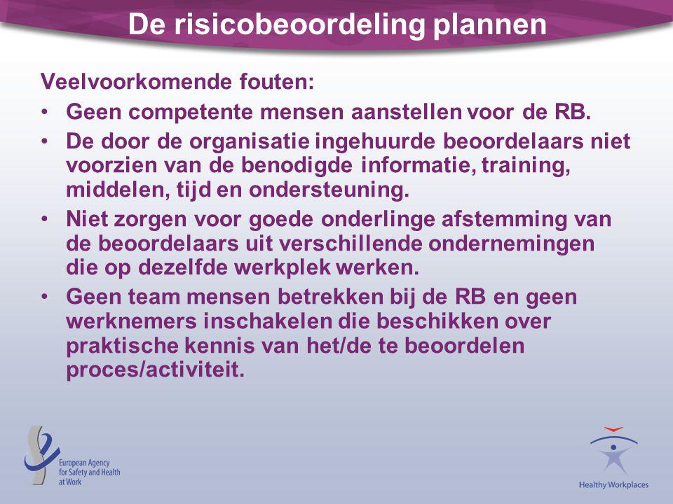 De risicobeoordeling plannen Veelvoorkomende fouten: •Geen competente mensen aanstellen voor de RB. •De door de organisatie ingehuurde beoordelaars ni