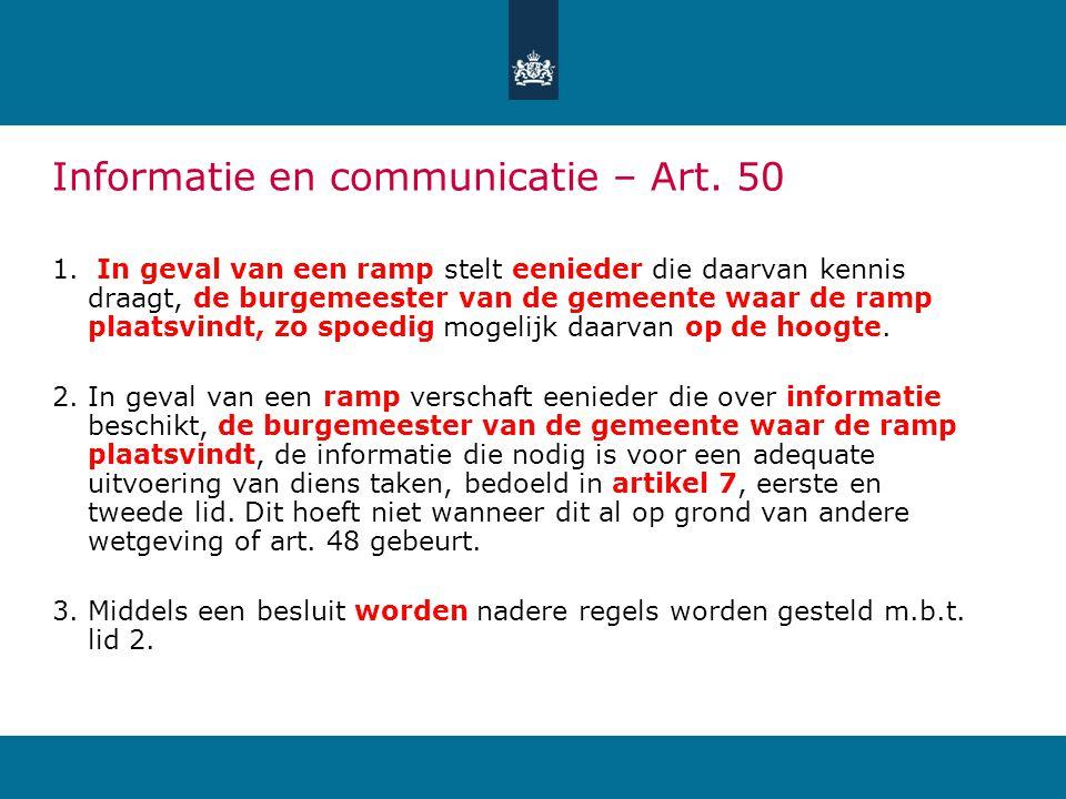 Informatie en communicatie – Art.50 1.