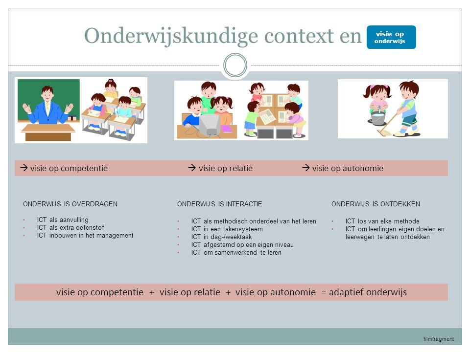 Onderwijskundige context en ict ONDERWIJS IS OVERDRAGEN • ICT als aanvulling • ICT als extra oefenstof • ICT inbouwen in het management ONDERWIJS IS INTERACTIE • ICT als methodisch onderdeel van het leren • ICT in een takensysteem • ICT in dag-/weektaak • ICT afgestemd op een eigen niveau • ICT om samenwerkend te leren ONDERWIJS IS ONTDEKKEN • ICT los van elke methode • ICT om leerlingen eigen doelen en leerwegen te laten ontdekken  visie op competentie  visie op relatie  visie op autonomie visie op competentie + visie op relatie + visie op autonomie = adaptief onderwijs filmfragment visie op onderwijs