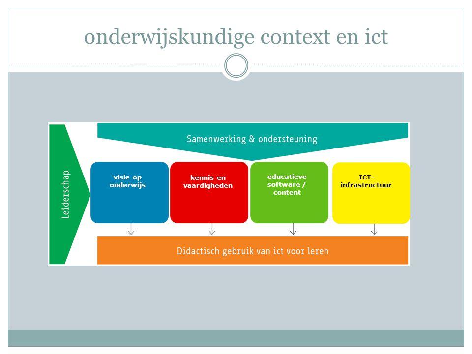 onderwijskundige context en ict additioneel geïntegreerd kennis en vaardigheden educatieve software / content kennis en vaardigheden visie op onderwijs ICT-infrastructuur educatieve software / content visie op onderwijs Ja, maar … : • wanneer moeten we dit doen .