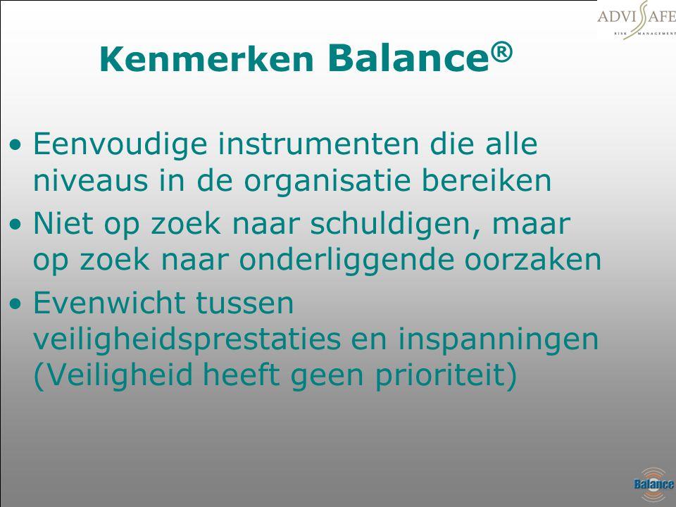 Kenmerken Balance ® •Eenvoudige instrumenten die alle niveaus in de organisatie bereiken •Niet op zoek naar schuldigen, maar op zoek naar onderliggend