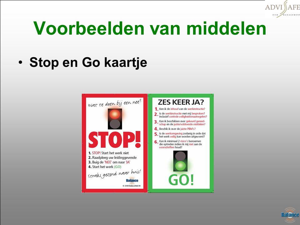 Voorbeelden van middelen •Stop en Go kaartje