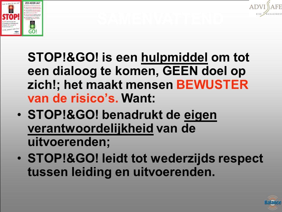 STOP!&GO! is een hulpmiddel om tot een dialoog te komen, GEEN doel op zich!; het maakt mensen BEWUSTER van de risico's. Want: •STOP!&GO! benadrukt de