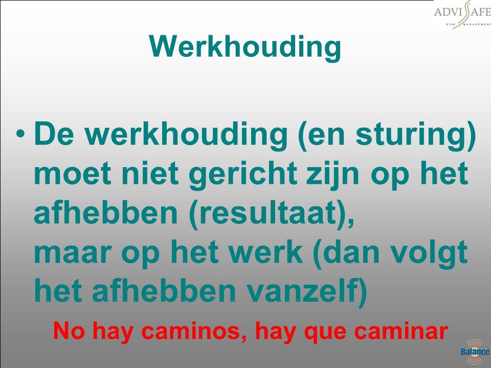 Werkhouding •De werkhouding (en sturing) moet niet gericht zijn op het afhebben (resultaat), maar op het werk (dan volgt het afhebben vanzelf) No hay