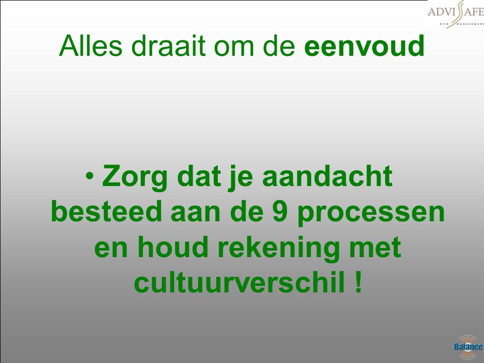 Alles draait om de eenvoud •Zorg dat je aandacht besteed aan de 9 processen en houd rekening met cultuurverschil !