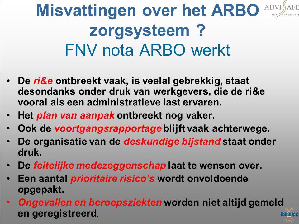 Misvattingen over het ARBO zorgsysteem ? FNV nota ARBO werkt •De ri&e ontbreekt vaak, is veelal gebrekkig, staat desondanks onder druk van werkgevers,