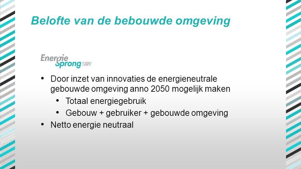 • Door inzet van innovaties de energieneutrale gebouwde omgeving anno 2050 mogelijk maken • Totaal energiegebruik • Gebouw + gebruiker + gebouwde omge