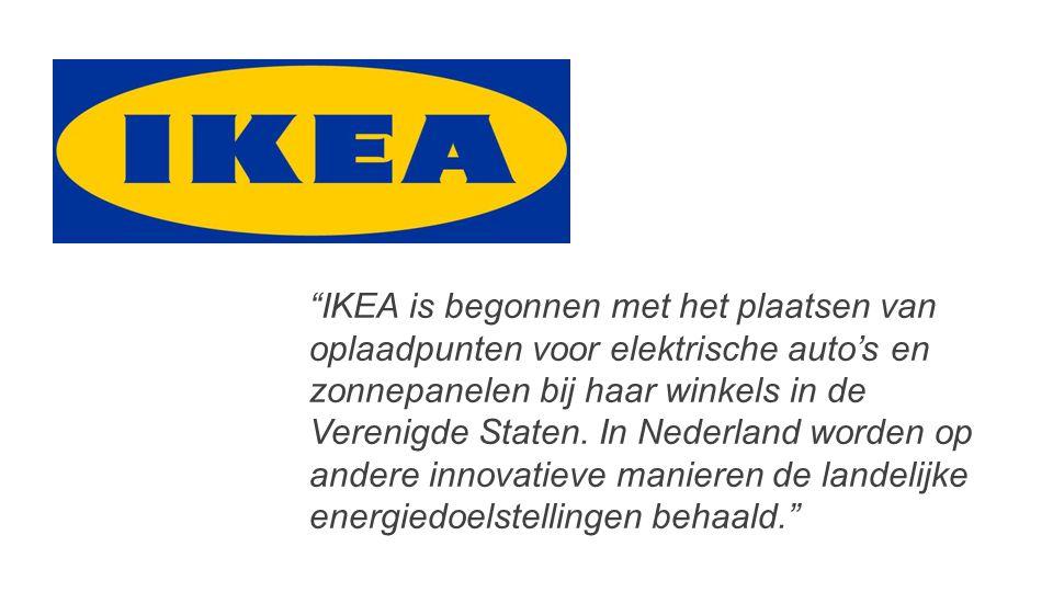 """""""IKEA is begonnen met het plaatsen van oplaadpunten voor elektrische auto's en zonnepanelen bij haar winkels in de Verenigde Staten. In Nederland word"""