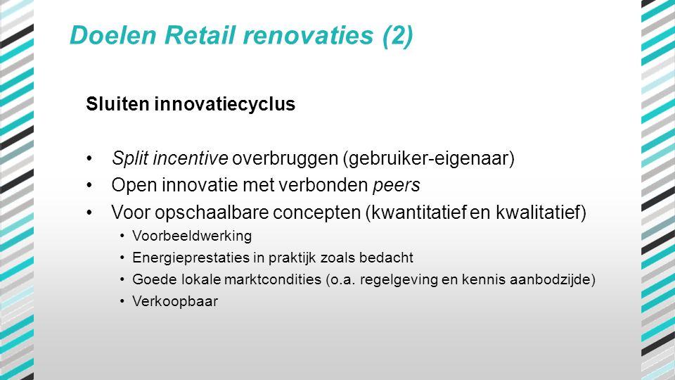 Doelen Retail renovaties (2) Sluiten innovatiecyclus •Split incentive overbruggen (gebruiker-eigenaar) •Open innovatie met verbonden peers •Voor opsch