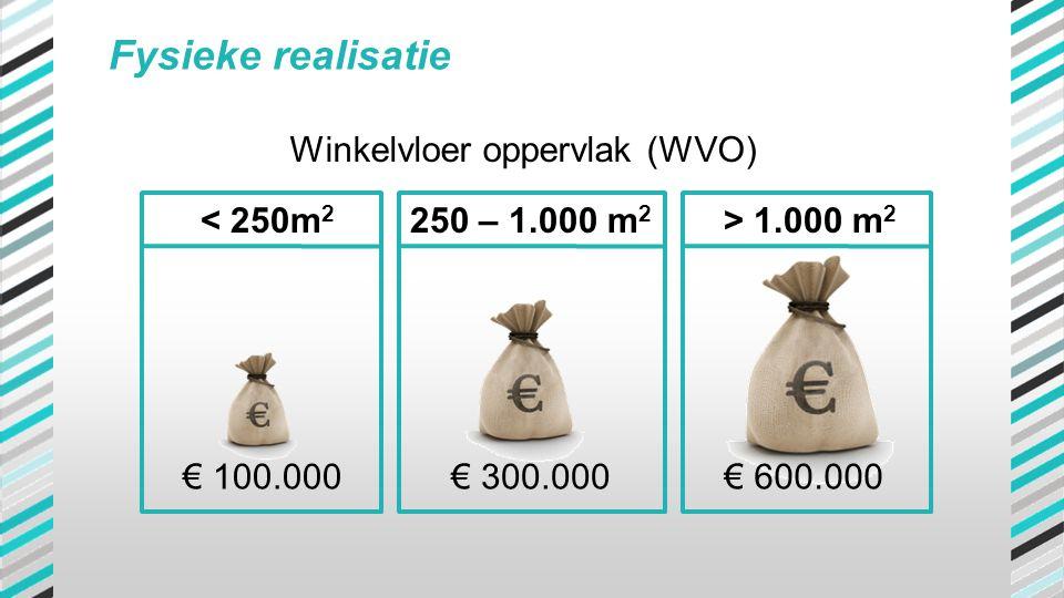 Fysieke realisatie € 100.000€ 300.000€ 600.000 •100.000 € voor de categorie vestigingen tot 250 m2 WVO •300.000 € voor de categorie vestigingen van 25