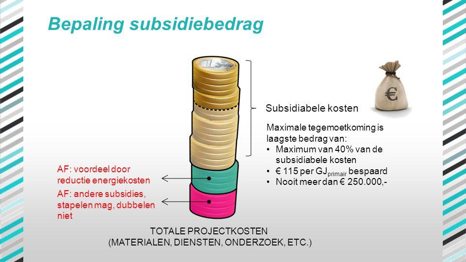 TOTALE PROJECTKOSTEN (MATERIALEN, DIENSTEN, ONDERZOEK, ETC.) AF: voordeel door reductie energiekosten AF: andere subsidies, stapelen mag, dubbelen nie