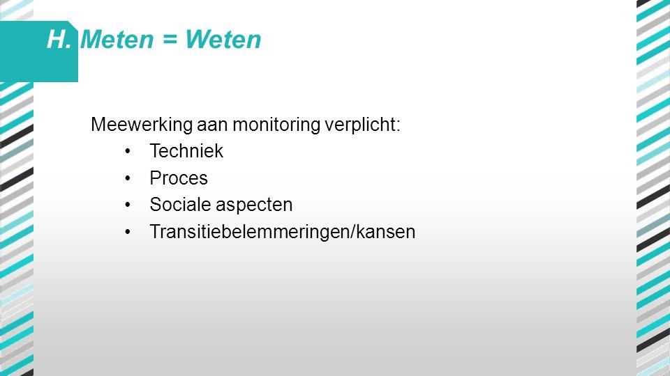 Meewerking aan monitoring verplicht: •Techniek •Proces •Sociale aspecten •Transitiebelemmeringen/kansen H. Meten = Weten