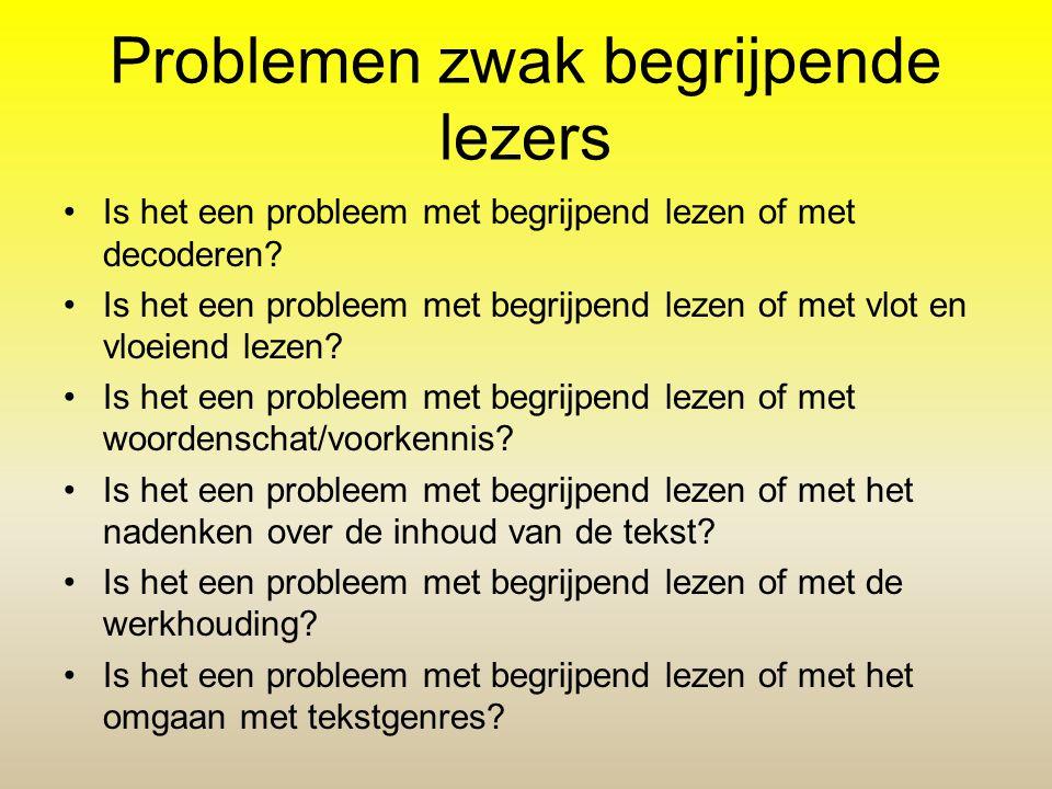 Problemen zwak begrijpende lezers •Is het een probleem met begrijpend lezen of met decoderen? •Is het een probleem met begrijpend lezen of met vlot en