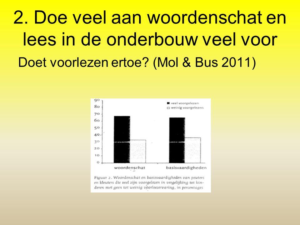 2. Doe veel aan woordenschat en lees in de onderbouw veel voor Doet voorlezen ertoe? (Mol & Bus 2011)