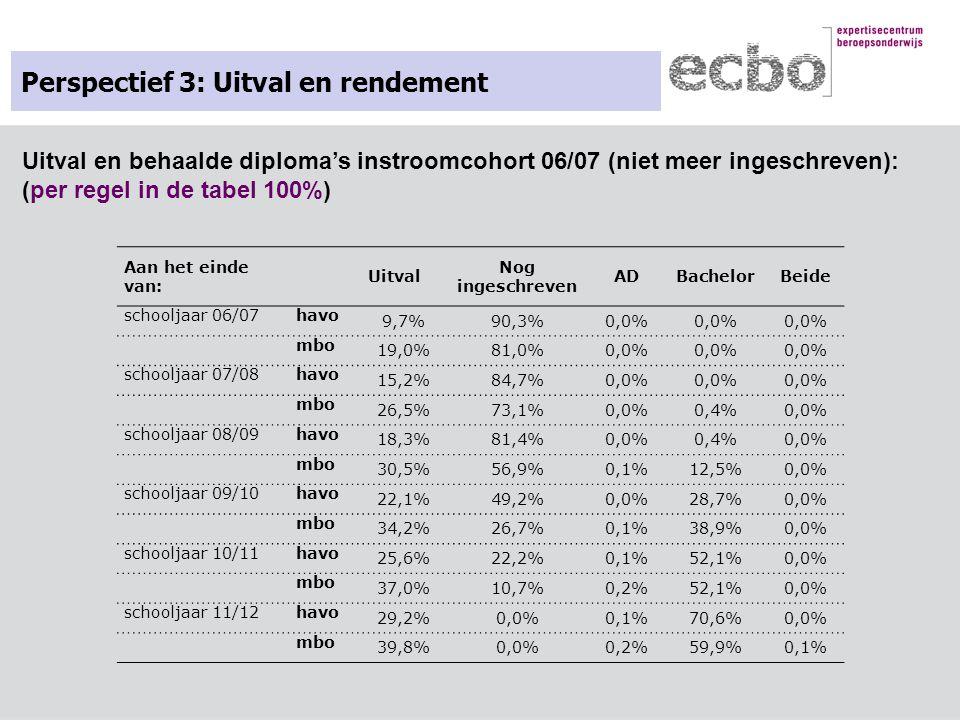 Perspectief 3: Uitval en rendement Aan het einde van: Uitval Nog ingeschreven ADBachelorBeide schooljaar 06/07havo 9,7%90,3%0,0% mbo 19,0%81,0%0,0% sc