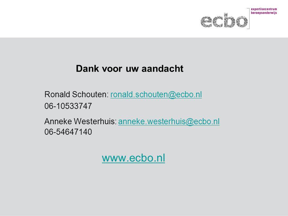 Dank voor uw aandacht Ronald Schouten: ronald.schouten@ecbo.nlronald.schouten@ecbo.nl 06-10533747 Anneke Westerhuis: anneke.westerhuis@ecbo.nl 06-5464