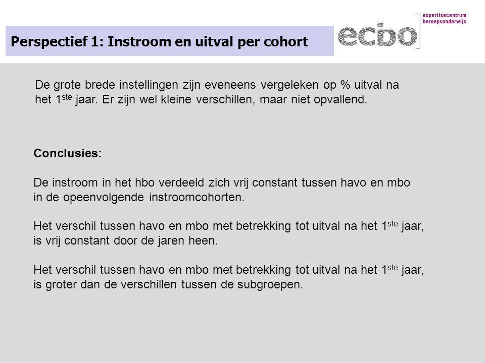 Perspectief 1: Instroom en uitval per cohort Conclusies: De instroom in het hbo verdeeld zich vrij constant tussen havo en mbo in de opeenvolgende ins