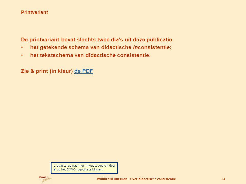 Printvariant De printvariant bevat slechts twee dia's uit deze publicatie. •het getekende schema van didactische inconsistentie; •het tekstschema van