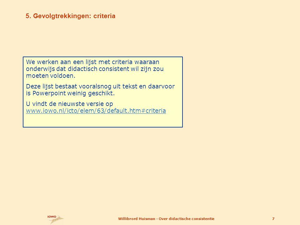 Presentatievariant: volgende vier dia s Willibrord Huisman - Over didactische consistentie8 U gaat terug naar het inhoudsoverzicht door  op het IOWO-logootje te klikken.