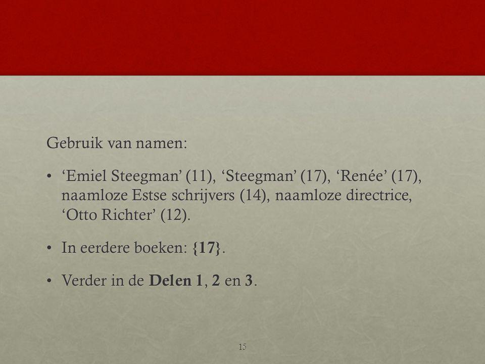 Gebruik van namen: •'Emiel Steegman' (11), 'Steegman' (17), 'Renée' (17), naamloze Estse schrijvers (14), naamloze directrice, 'Otto Richter' (12). •I